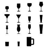 Uppsättning av konturexponeringsglassymboler Royaltyfri Fotografi