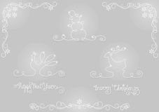 Uppsättning av konturjul och symboler för nytt år Arkivfoto