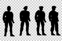 Uppsättning av konturn av fyra soldat, perspektiv för låg vinkel, på genomskinlig effektbakgrund royaltyfri illustrationer