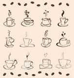Uppsättning av 12 koppar kaffe Fotografering för Bildbyråer