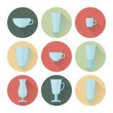Uppsättning av koppar och exponeringsglas för kaffe Arkivfoton