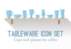 Uppsättning av koppar och exponeringsglas för kaffe Arkivbilder