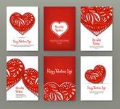 Uppsättning av 6 kort eller baner för dag för valentin` s med utsmyckad röd lo Arkivbilder
