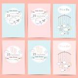 Uppsättning av kort för baby showerpojke- och flickainbjudan royaltyfri illustrationer
