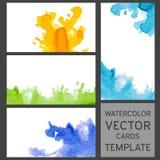 Uppsättning av kort för grungevattenfärgbesök Arkivbild