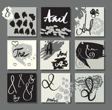 Uppsättning av kort för idérika den målade designhanden stock illustrationer