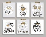 Uppsättning av kort för jul och nytt år vektor illustrationer