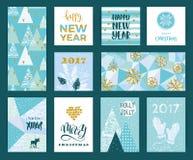 Uppsättning av kort för konstnärlig idérik glad jul och för nytt år Arkivfoto
