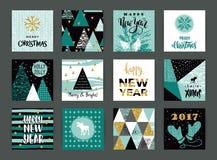 Uppsättning av kort för konstnärlig idérik glad jul och för nytt år Arkivbild