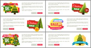 Uppsättning av kort för kostnad för julSale toppna primaa halva Fotografering för Bildbyråer