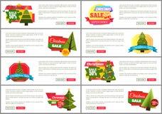 Uppsättning av kort för kostnad för julSale toppna primaa halva Royaltyfri Fotografi