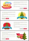 Uppsättning av kort för kostnad för julSale toppna primaa halva Arkivfoto