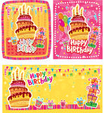 Uppsättning av kort för lycklig födelsedag stock illustrationer
