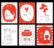 Uppsättning av kort för valentindaghälsning med gulliga monster stock illustrationer