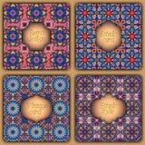 Uppsättning av kort i tappningstil Vektordesignmallar Tappningramar och bakgrunder stock illustrationer