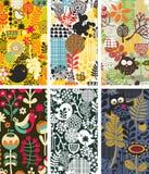 Uppsättning av kort med fåglar och blommor. Royaltyfri Bild