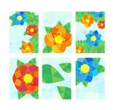 Uppsättning av kort med geometriska blommor Arkivfoto