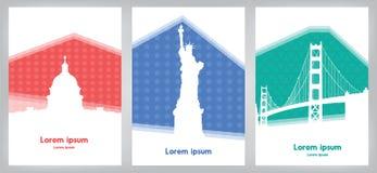 Uppsättning av kort med gränsmärken USA på färgrik bakgrund Royaltyfria Bilder