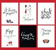 Uppsättning av kort med tangocitationstecken vektor illustrationer