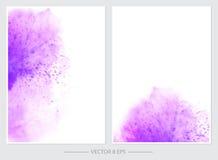 Uppsättning av kort med vektorvattenfärgfläckar Royaltyfri Foto