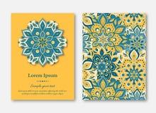 Uppsättning av kort, reklamblad, broschyrer, mallar med hand dragen manda stock illustrationer