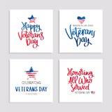 Uppsättning av kort till veterandagen stock illustrationer