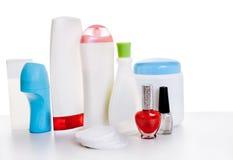 Uppsättning av kosmetiska flaskor Arkivfoto