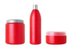 Uppsättning av kosmetiska flaskor Arkivbild