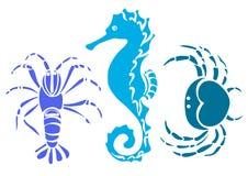 Uppsättning av krabban, havshäst, cancer Skissa vektorn stock illustrationer