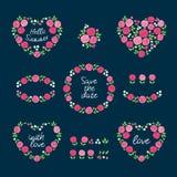 Uppsättning av kransar av rosa blommor för sommar tecknad blom- hand för element stock illustrationer