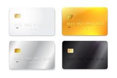 Uppsättning av kreditkorten, vit, guld, silver och den svarta realistiska modellen också vektor för coreldrawillustration bakgrun Royaltyfri Bild