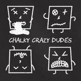 Uppsättning av kritaemoticons, svart tavlabackgound, chalky galna fyrkantiga killar för emoji Royaltyfri Fotografi