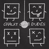 Uppsättning av kritaemoticons, svart tavlabakgrund, för klubbafyrkant för emoji chalky killar Arkivfoton