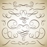 Uppsättning av krusidullar och karaktärsteckningar stock illustrationer