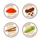 Uppsättning av kryddaetiketter organiska 100 Samling Royaltyfri Fotografi