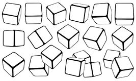 Uppsättning av kuber i olika positioner Arkivfoton
