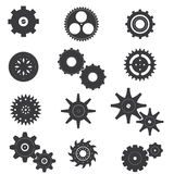 Uppsättning av kuggen och maskinvektor och symbol Arkivbild