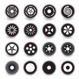 Uppsättning av kugghjulsymbolen för plan svart för grafisk design för information Fotografering för Bildbyråer
