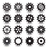 Uppsättning av kugghjulsymbolen för plan svart för grafisk design för information Arkivfoto