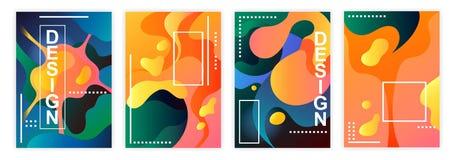 Uppsättning av kulöra abstrakta affischer mall Design vektor illustrationer