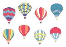 Uppsättning av kulöra ballonger för varm luft Royaltyfri Fotografi