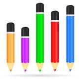 Uppsättning av kulöra blyertspennor royaltyfria bilder