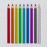 Uppsättning av kulöra blyertspennor som drar på genomskinlig bakgrund, hjälpmedel för kreativitet och skolor, vektorillustration royaltyfri illustrationer