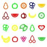 Uppsättning av kulöra fruktsymboler Fotografering för Bildbyråer