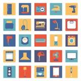 Uppsättning av kulöra hem- anordningar och elektronik Royaltyfri Bild