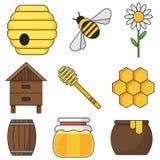Uppsättning av kulöra honungsymboler på en isolerad vit bakgrund i en plan design Liksom en bikupa en bikupa, en honung Arkivfoton