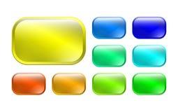 Uppsättning av kulöra knappar 3d stock illustrationer