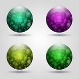 Uppsättning av kulöra knappar 3d symbolical rengöringsduk för symbolstecken för designeps för 10 bakgrund vektor för tech Vektor Illustrationer