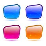 Uppsättning av kulöra knappar 3d symbolical rengöringsduk för symbolstecken Vektordesignrektangel Arkivfoto