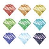Uppsättning av kulöra kristaller också vektor för coreldrawillustration Fasetterad juvel Fotografering för Bildbyråer